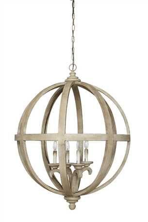 30 1 4 Round X 39h Wood Metal Sphere Shaped Chandelier W 4