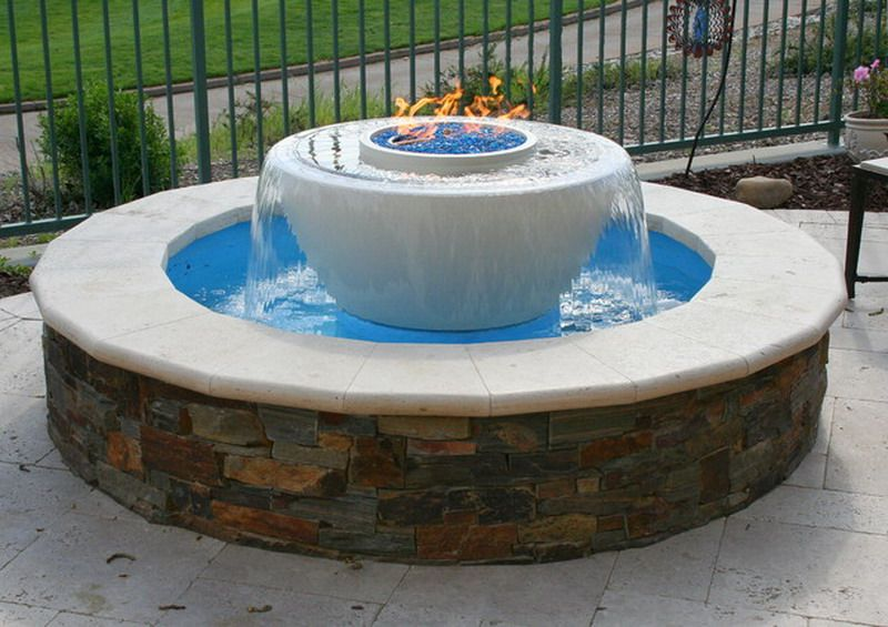 Beautiful traditional outdoor patio water feature with gas for Fire pit water feature combo