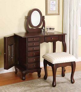 Classic Boise Cherry Brown Wood Makeup Vanity Desk Set Bench Mirror Bedroom Vanity Set Furniture Brown Dressing Tables