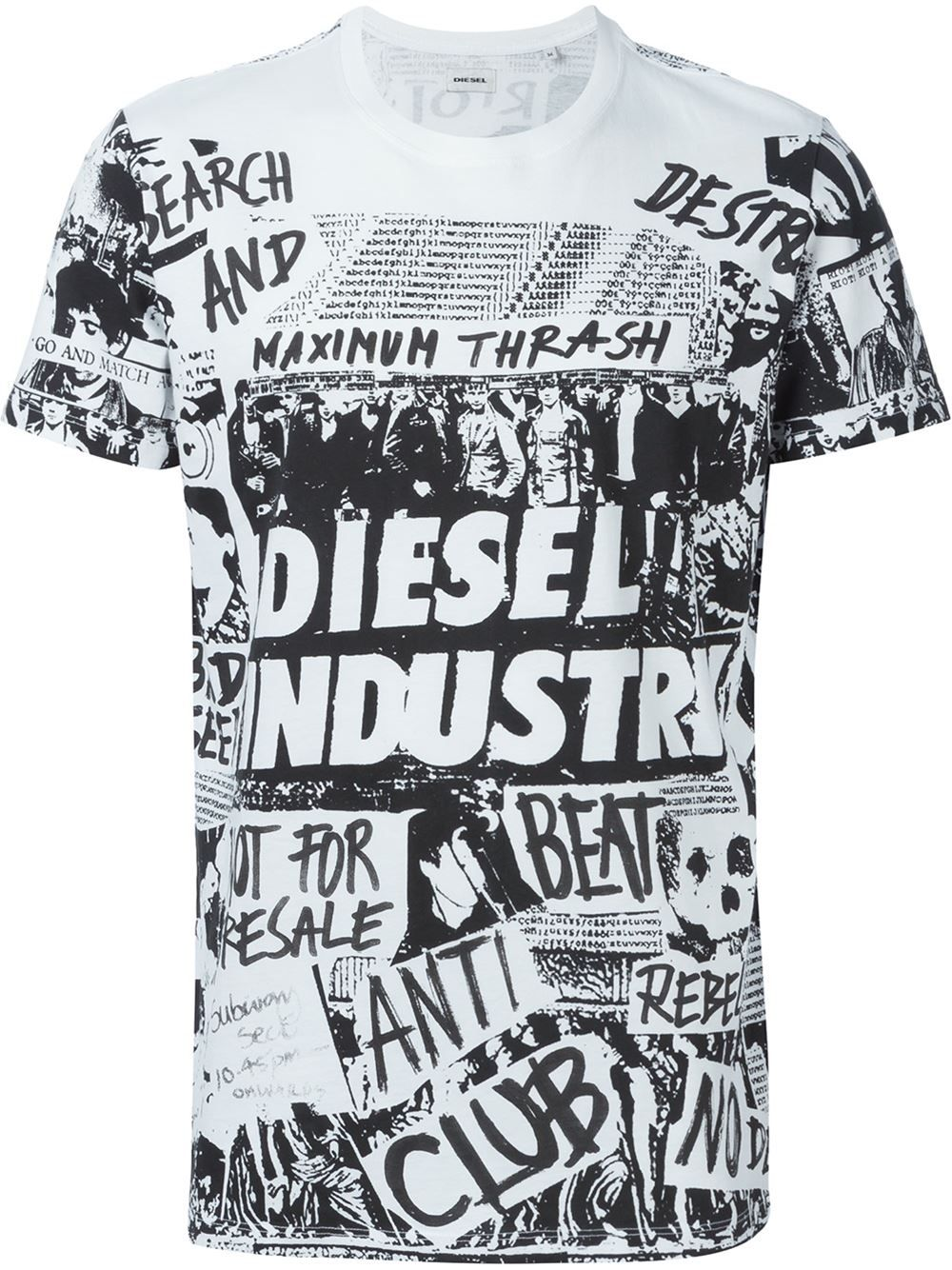 e543ba2094b0 Diesel Collage Print T-shirt - Parisi - Farfetch.com | T-Shirts in ...