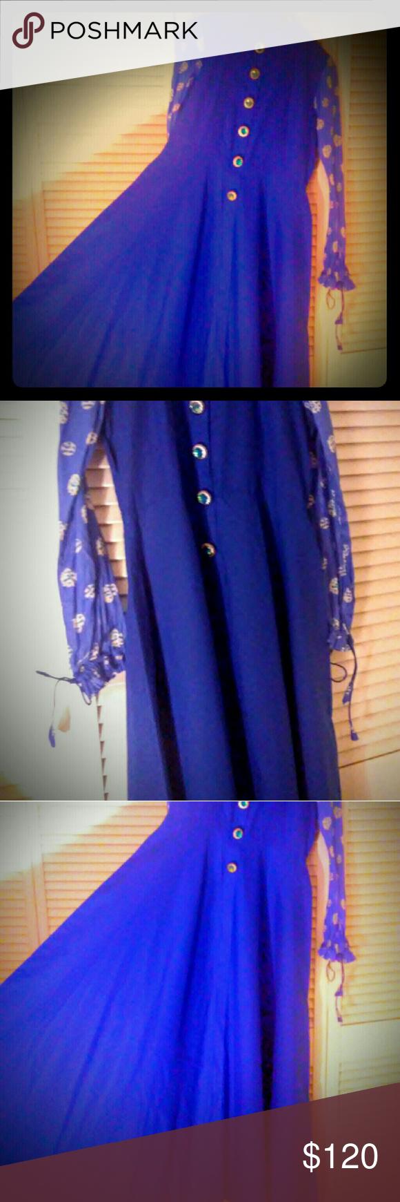 Royal blue vintage style cotton dress royal blue vintage