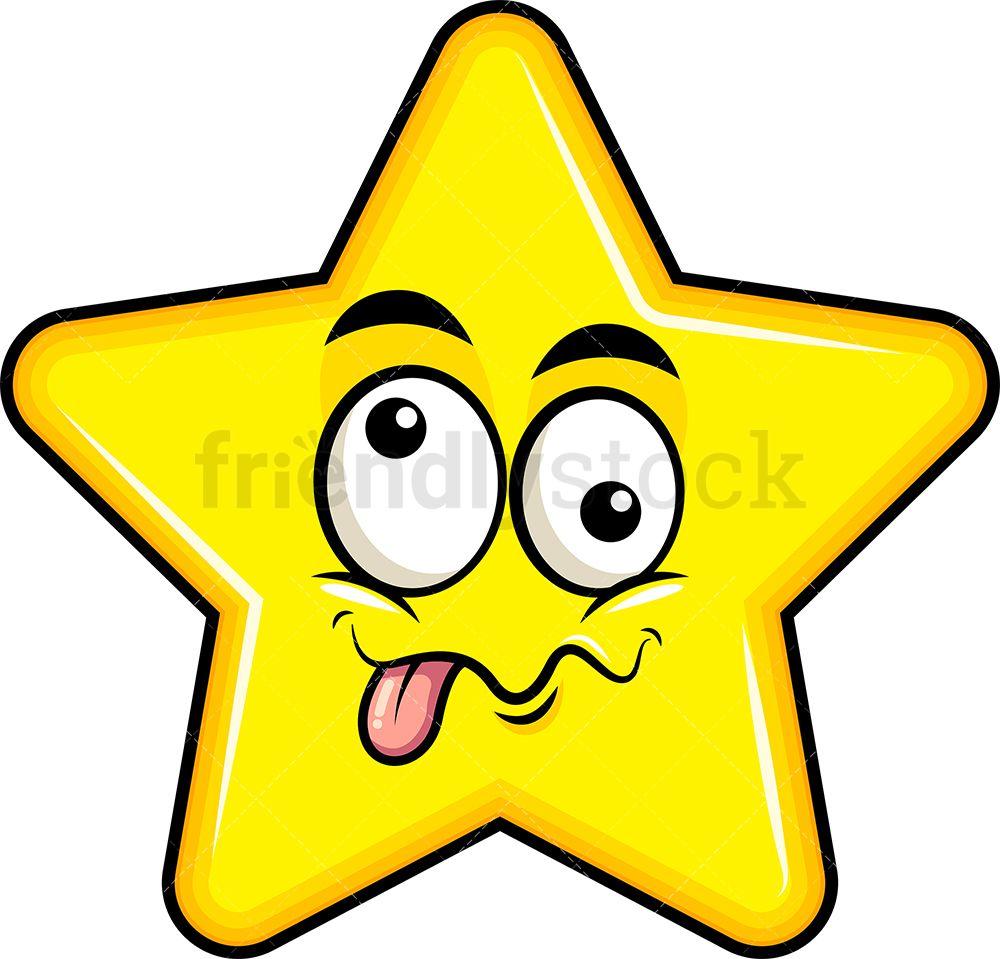 Goofy Crazy Eyes Star Emoji Cartoon Clipart Vector Friendlystock Star Emoji Cartoon Clip Art Emoji
