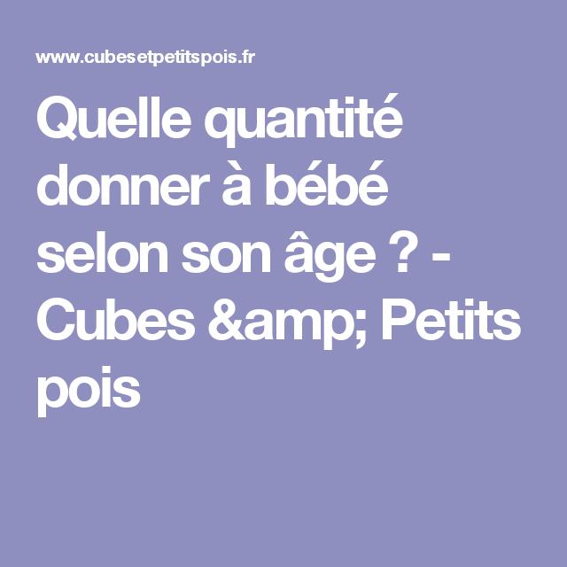 Menu Type Pour Bebe Et Quantite A Donner Selon Son Age Diversification Alimentaire Bebe Alimentation Bebe