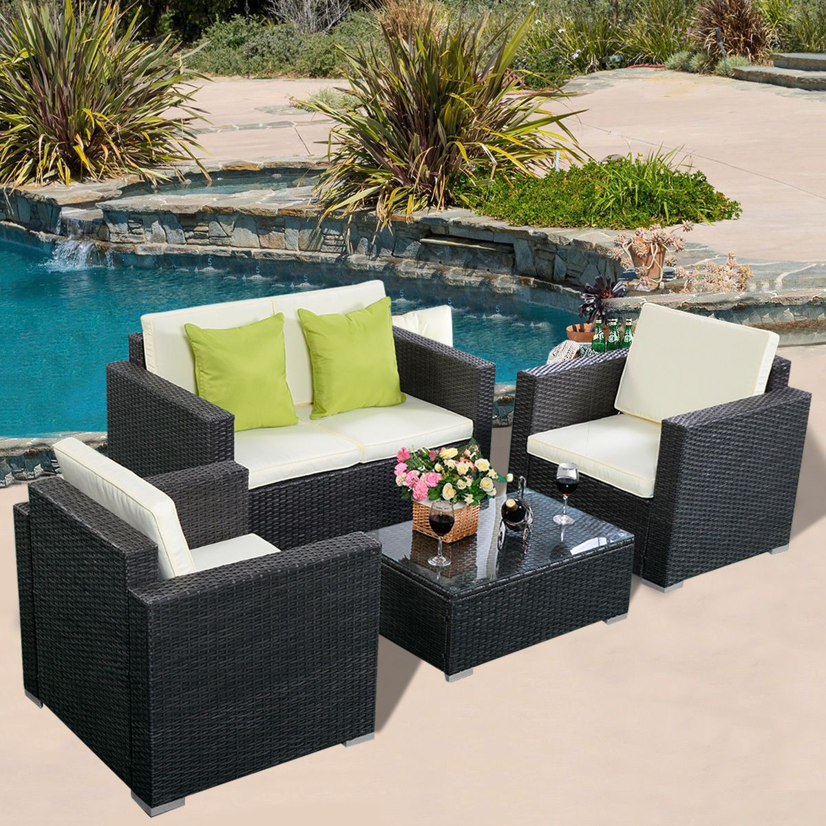 Pc wicker rattan sofa furniture set patio garden lawn cushioned