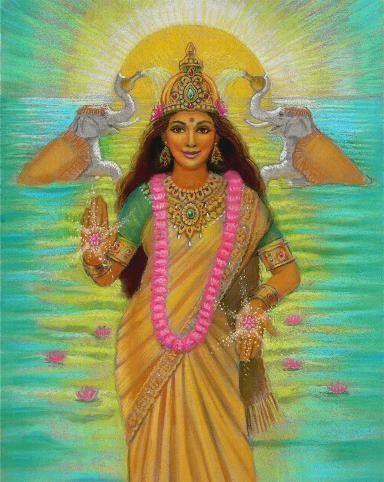 Art de déesse hindoue Lakshmi affiche par HalstenbergStudio sur Etsy