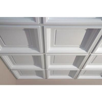 Ceilume Madison White 2 Ft X 2 Ft Lay In Coffered Ceiling Panel Case Of 6 V3 Mad 22wto 6 The Home Depot Coffered Ceiling Ceiling Panels Basement Ceiling Ideas Cheap