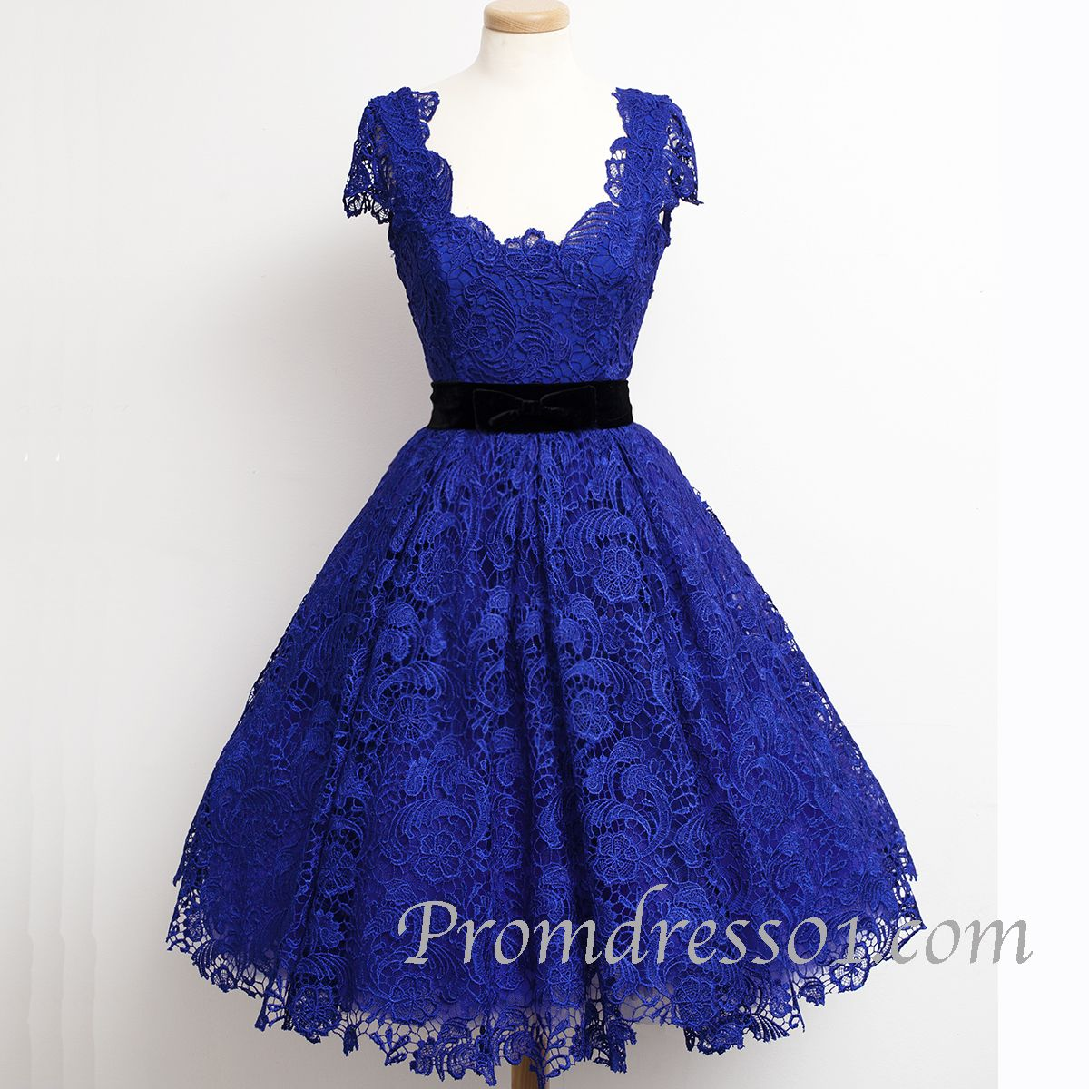 Elegant navy blue short sleeves vintage lace modest short prom ...
