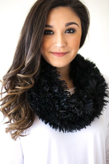Better Than He Can Black Fur Scarf