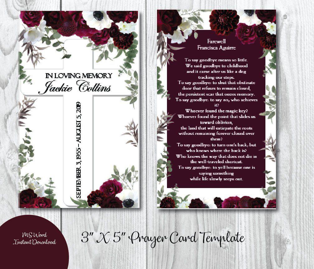 Printable Funeral Prayer Card 3 X 5 Memorial Prayer Card