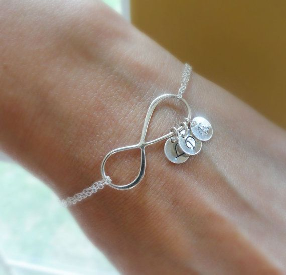Infinity Bracelet Mother Silver Initial Personalized With Initials Hand