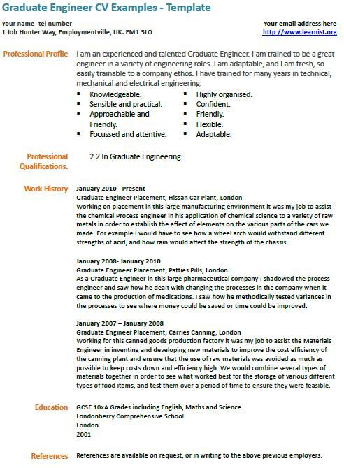 Graduate engineer cv example civil engineer resume Pinterest - engineering internship resume sample