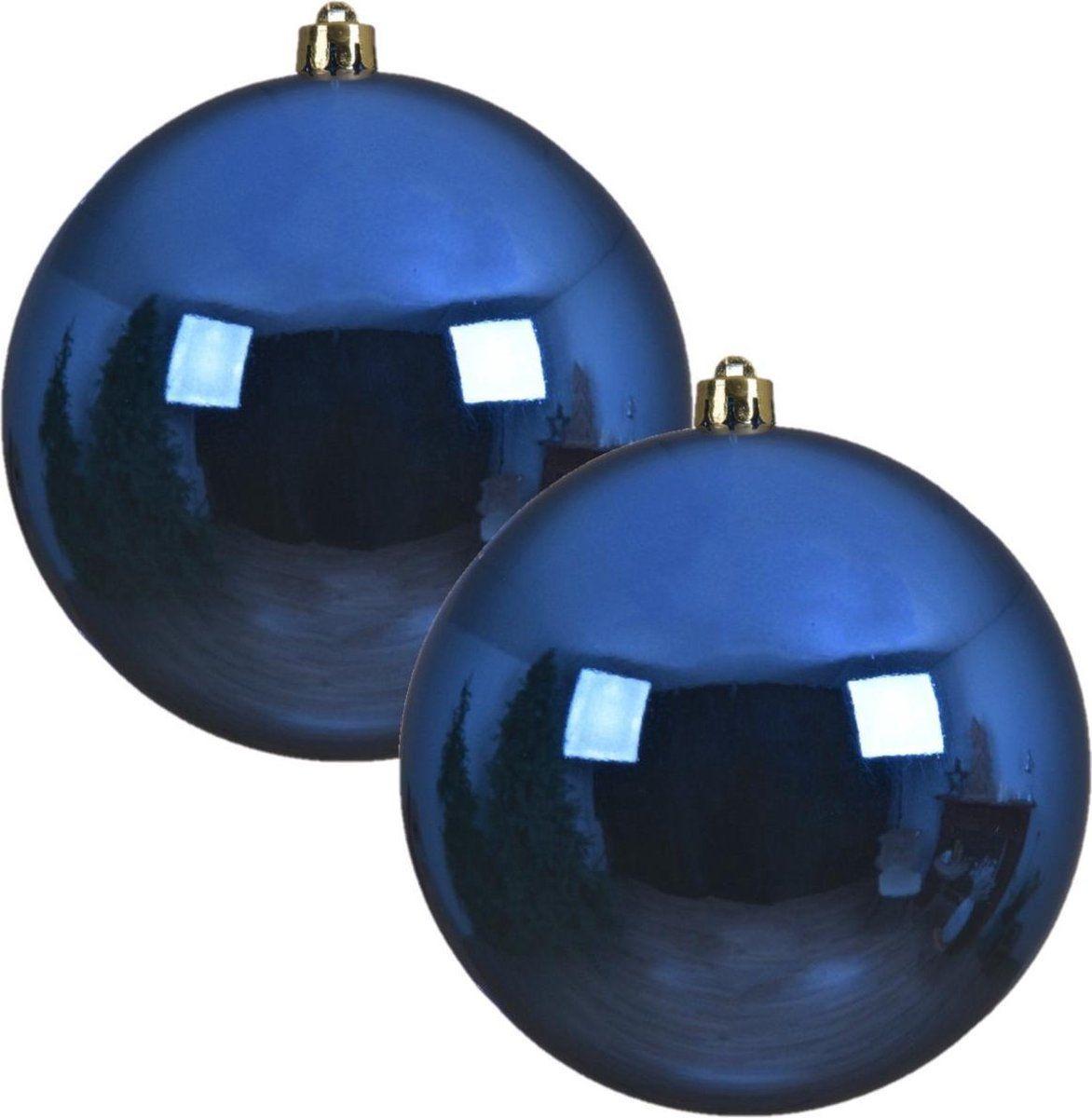 2x Grote kobalt blauwe kunststof kerstballen van 20 cm – gla…