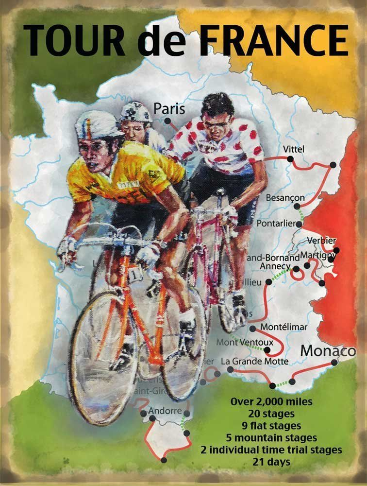 Tour De France Map Blechschilder Nostalgie Grosse 15x20 Cm Amazon De Kuche Haushalt Cycling France Tour De France Poster Tour De France
