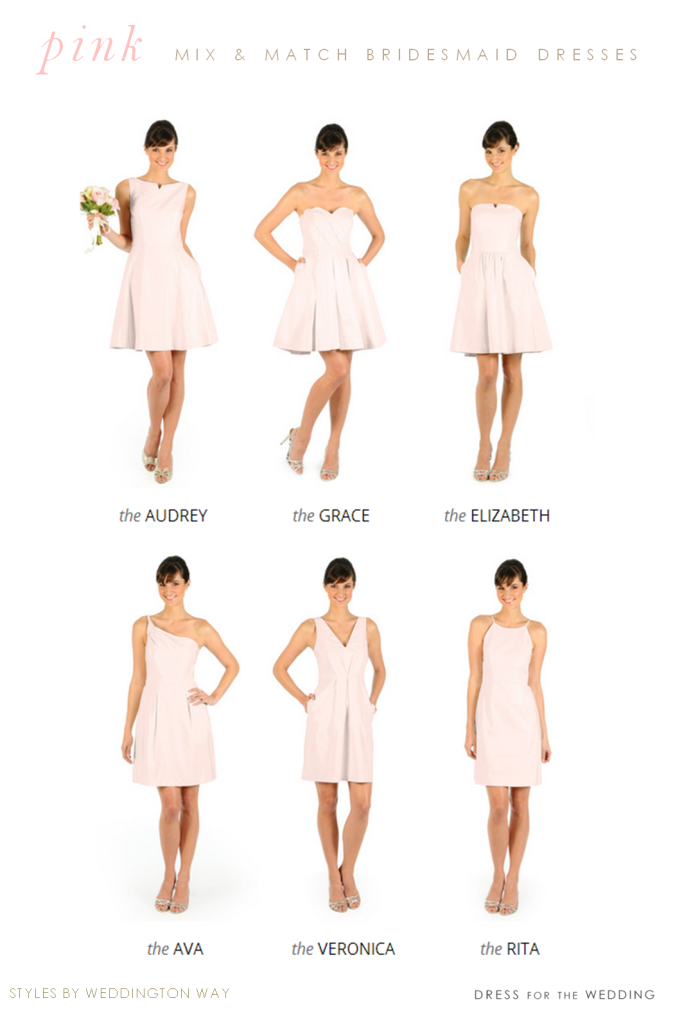 Pretty Pink Bridesmaid Dresses With Diffe Necklines And Styles From Weddington Way
