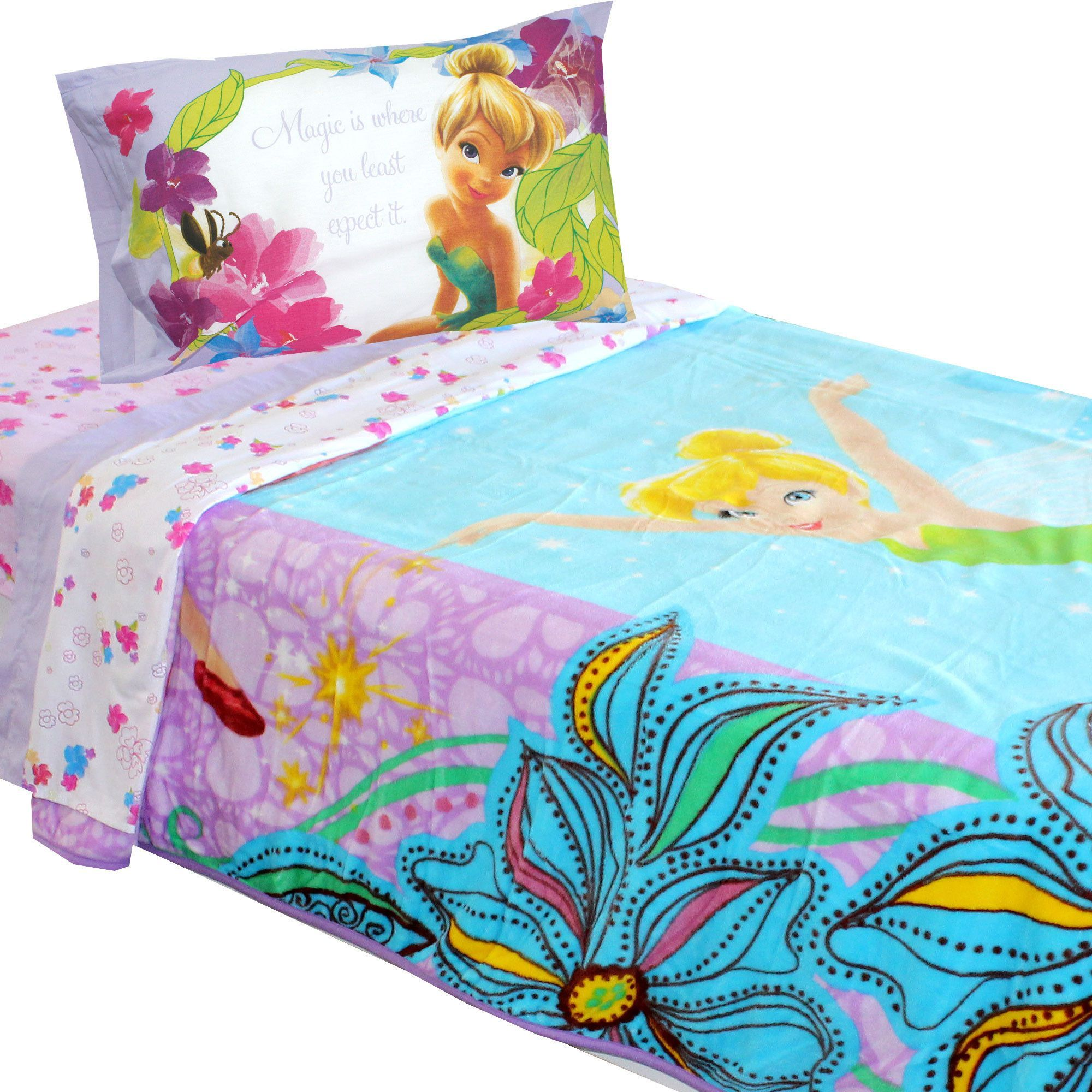 Disney Tinkerbell Twin Bedding Magic Butterfly Blanket Set