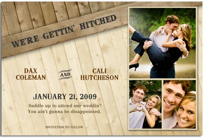 Western Wedding Announcements Save The Date Card Country Theme