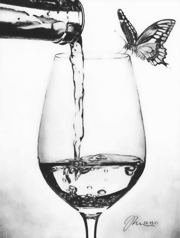 Wine Drawing Published At 607 800 In Graphite And Color