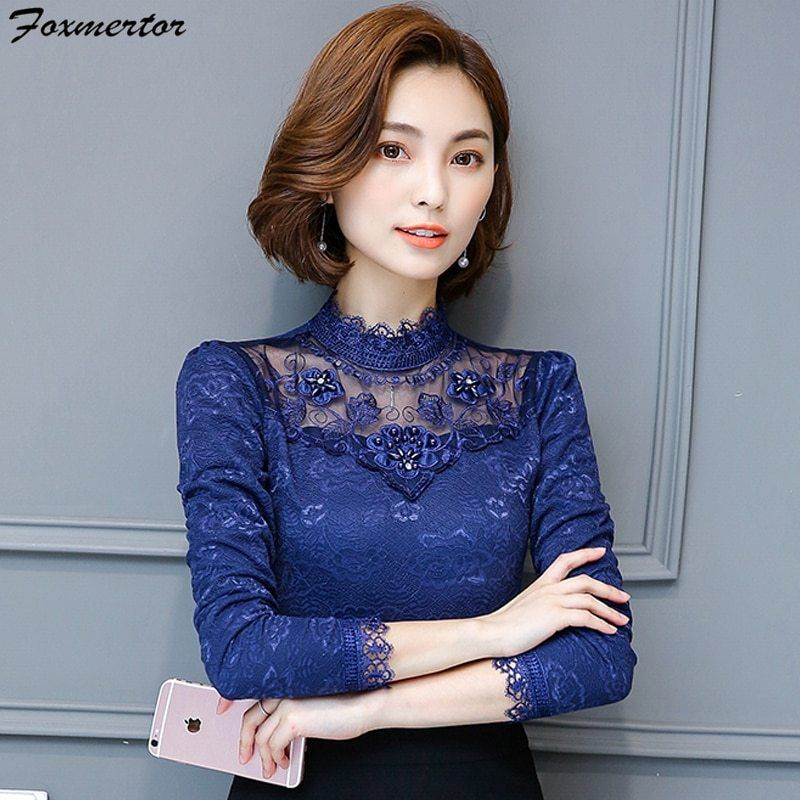 916a9938a Lace Blouse Women Sexy Hollow Out Embroidery Long Sleeve Fashion Shirt  Female Tops Office Lady Casual Beading Blouses Clothing