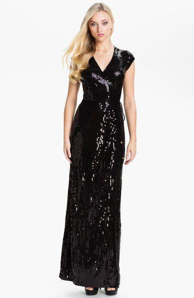 9bc36d69 Women's Black Sequin Wrap Dress | C L O T H E S | Dresses, Maxi wrap ...