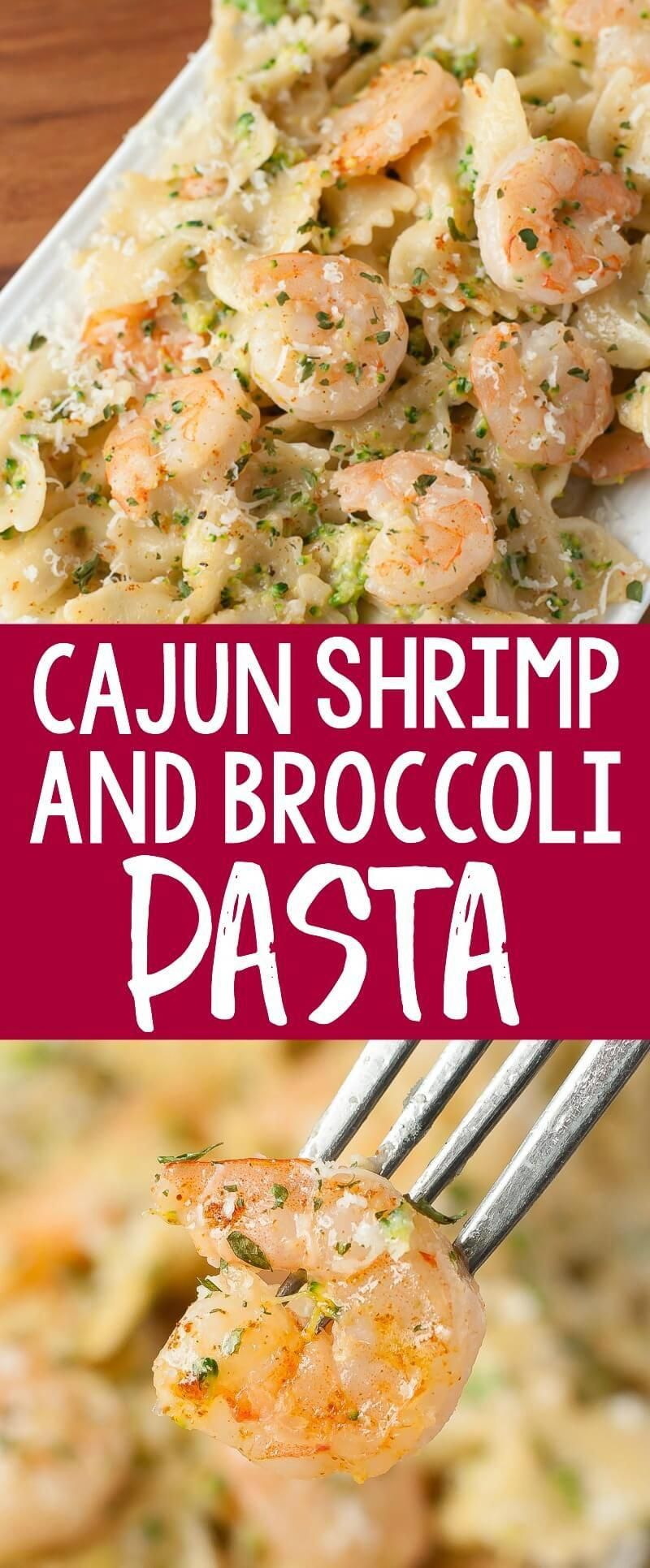 This delicious Creamy Cajun Shrimp and Broccoli Pasta makes an easy lunch or dinner! The cajun zing adds a nice burst of flavor to this tasty plate of pasta. #pasta #shrimp #seafood #broccoli #cajun #pastanight #comfortfood #easyrecipes #TacoBellPotato