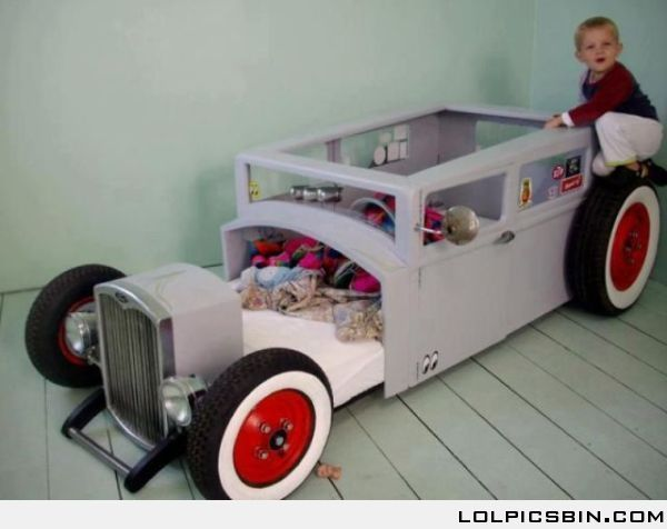 Awesome car bed that would be cool for Dallas someday. I know Grandpa Smith  would