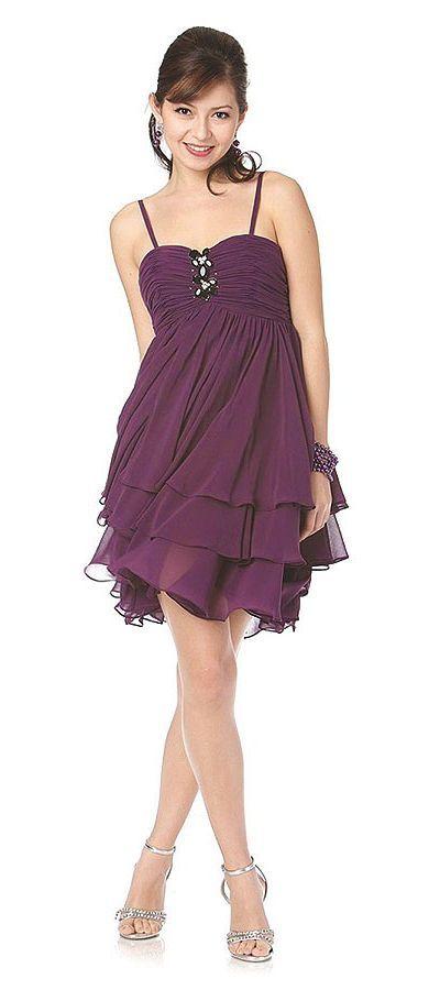 Cheap Purple Bridesmaid Dress Short Chiffon Spaghetti Strap Layered Skirt $87.99