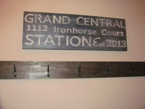 Grand Central Station Painting on canvas.  Personalize with your address and date you moved in!  by Once Upon a Wall