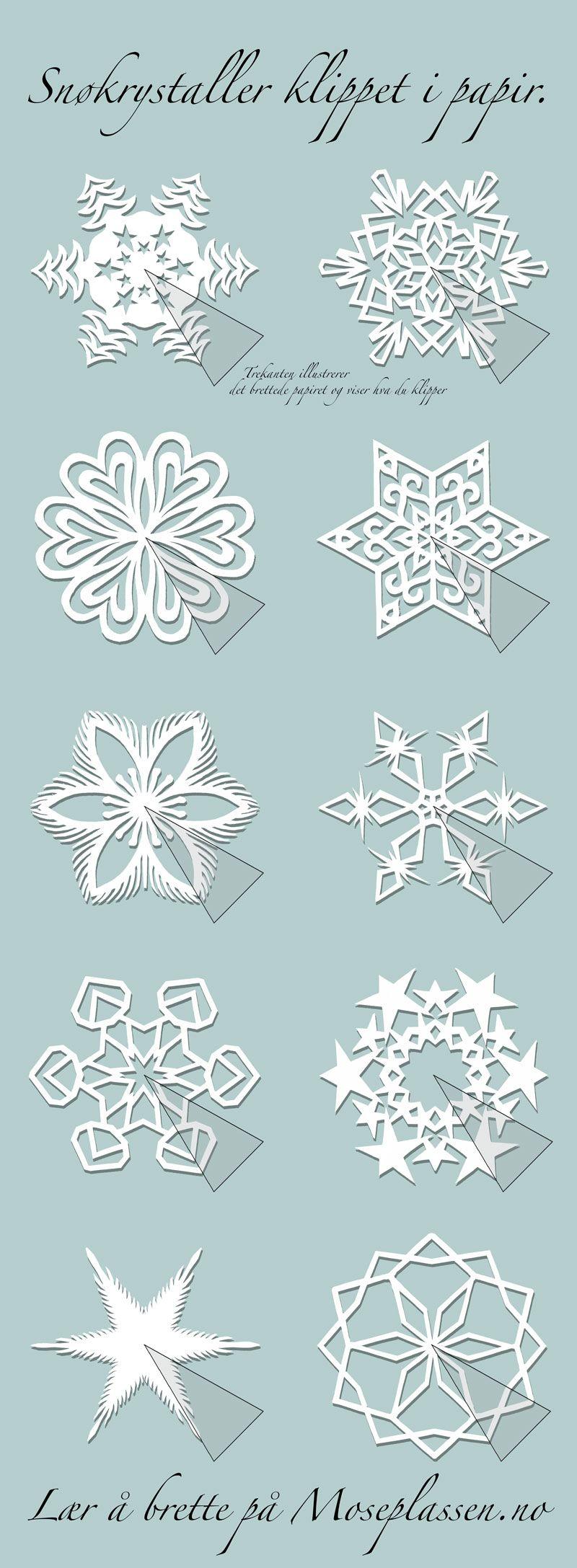 Paper snowflakes and other kirigami patterns. | ideas para navidad ...