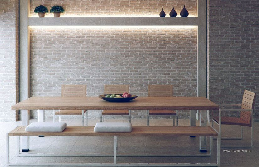 Love the brick wall with light wood dining table  for bathroom