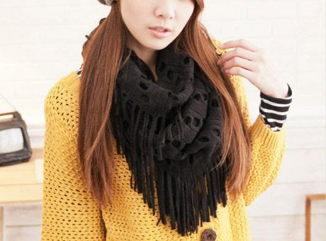 Hollow Out Knit Snood Black With Tassels