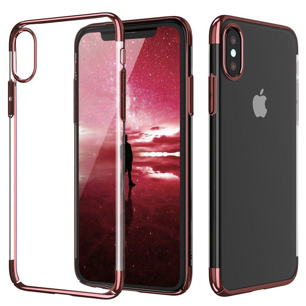 For Iphone X Case Zhfly Ultra Thin Transparent Protective Cover Flexible Soft Tpu Electroplated Frame Bumper Back Silicone Gel Ru Iphone Clear Cases Iphone 10