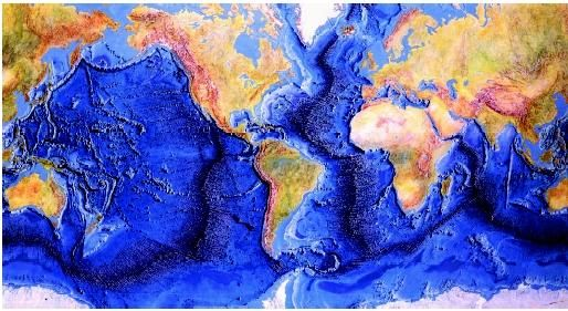 Ocean Floor Elevation Map : A composite map showing the topography relief of