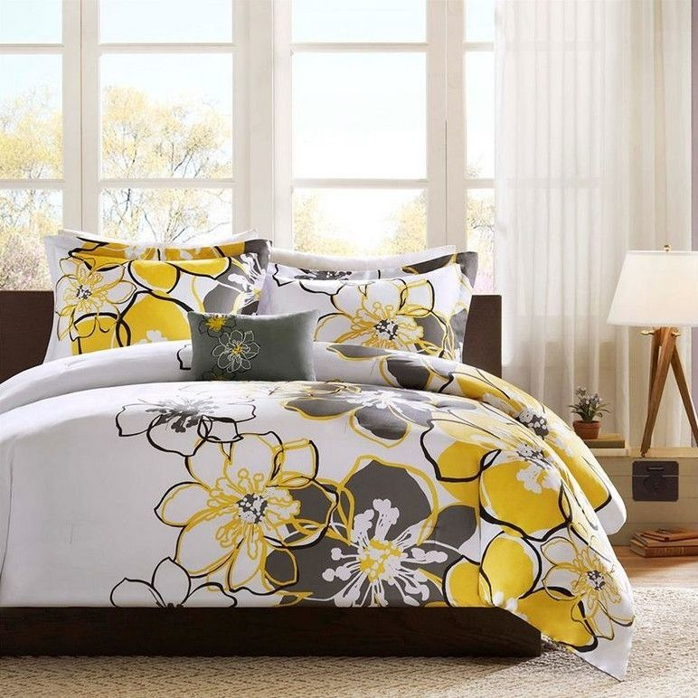 Queen 4 Piece Comforter Set With Yellow Grey Floral Pattern Bed