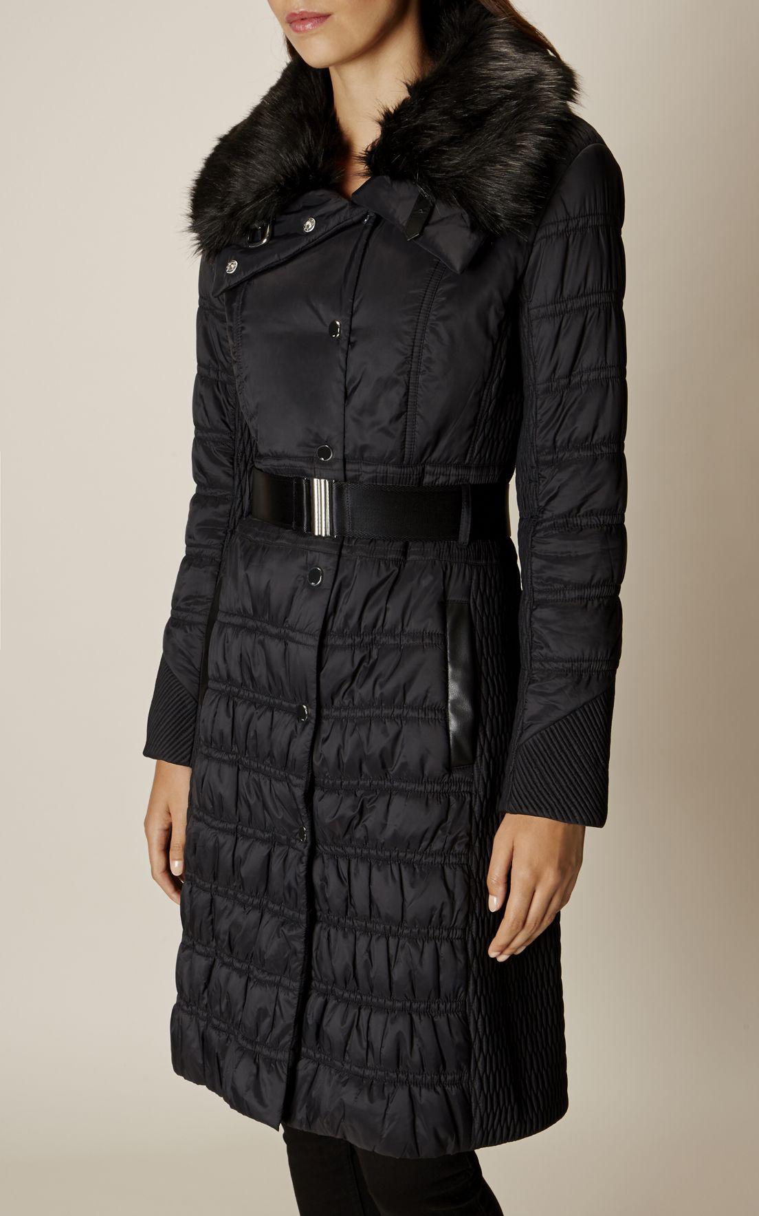 Karen Millen, BELTED PADDED COAT Black | kápur og jakkar ...