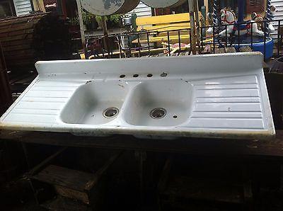 Architectural Salvage Cast Iron Porcelain Farm Kitchen Sink 40