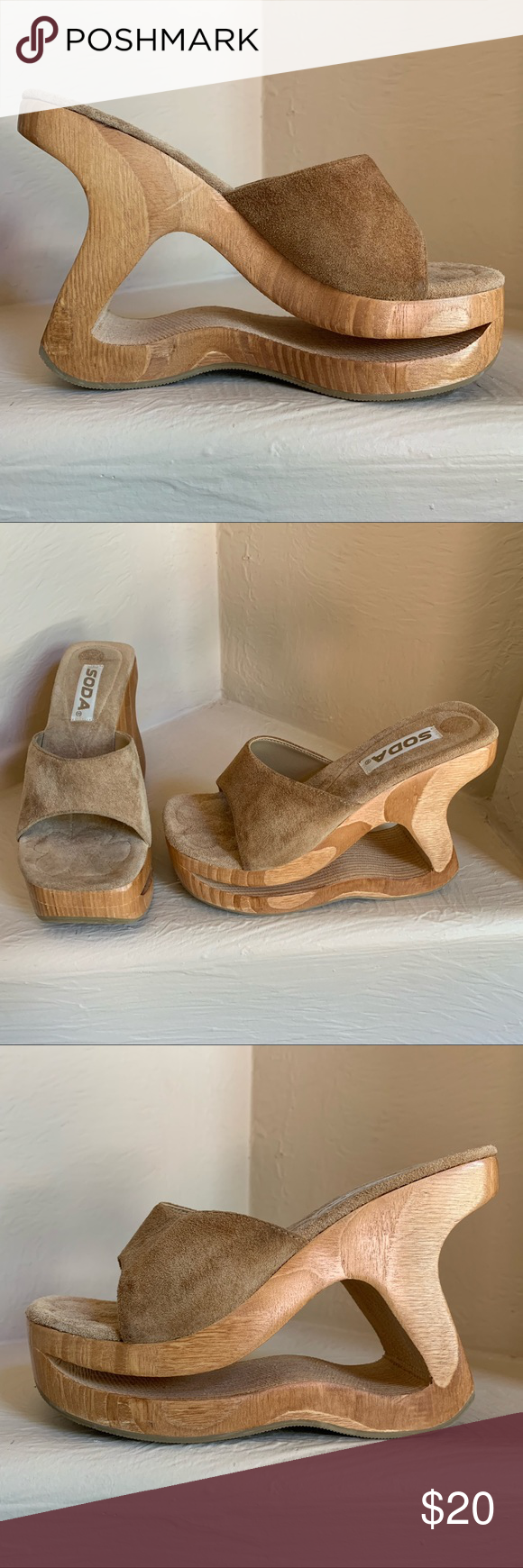 Suede Sandals with Wood Heel by Soda Unique suede sandal by Soda Comfortable carved wood cutout wedge 4 8243 heel Suede foot bed Size 5 5 Wood is in excel Suede Sandals w...