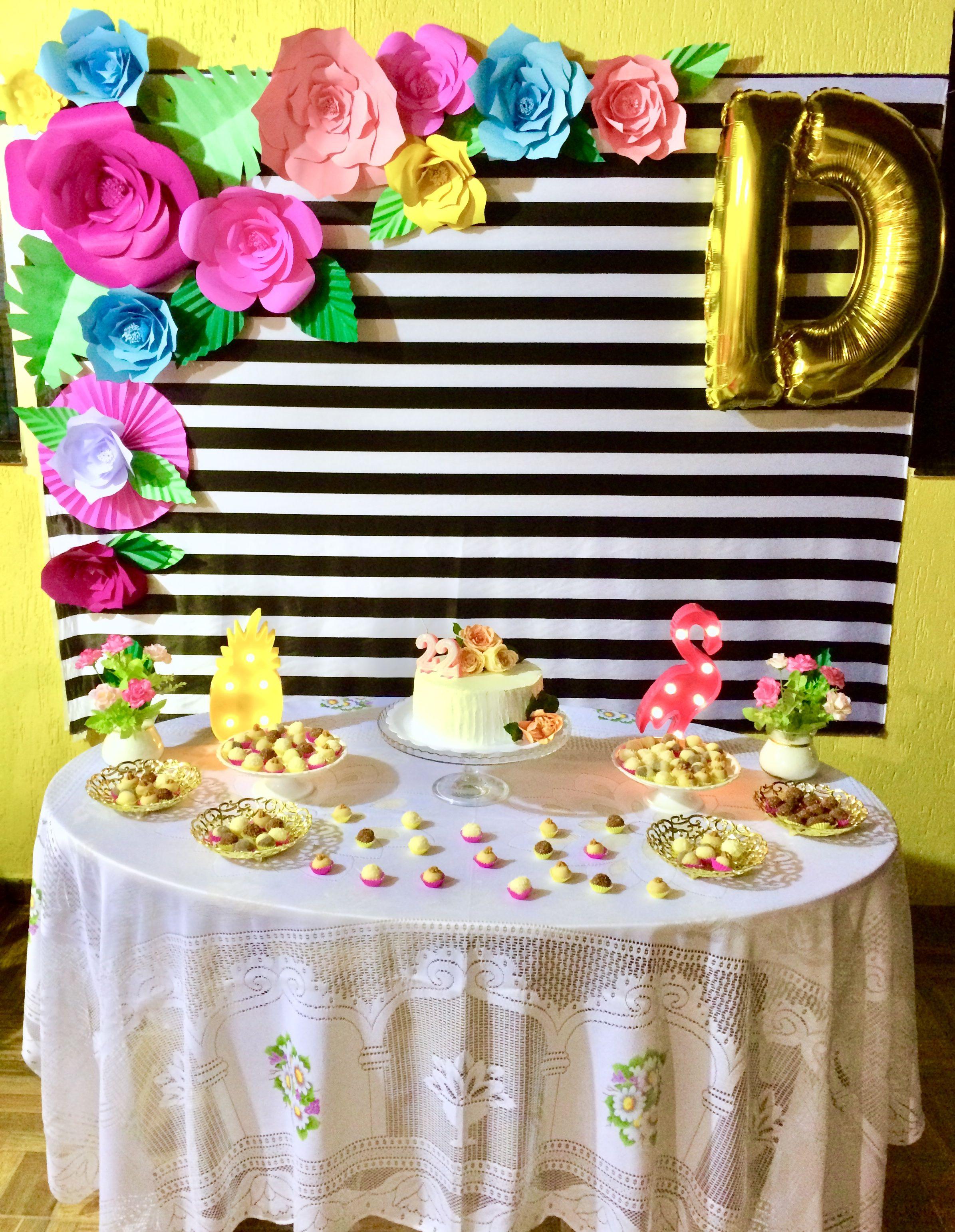Flores de papel Decoraç u00e3o floral Flamingo Aniversário em 2019 Flamingo birthday  # Decoração De Flores De Papel Para Aniversario