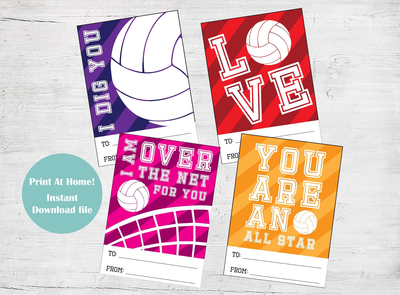 Volleyball Valentine Cards Digital Volleyball Valentine Day Card Diy Valentines Card Set Volleyball Valen In 2020 Valentines Cards Valentines Printables Card Set