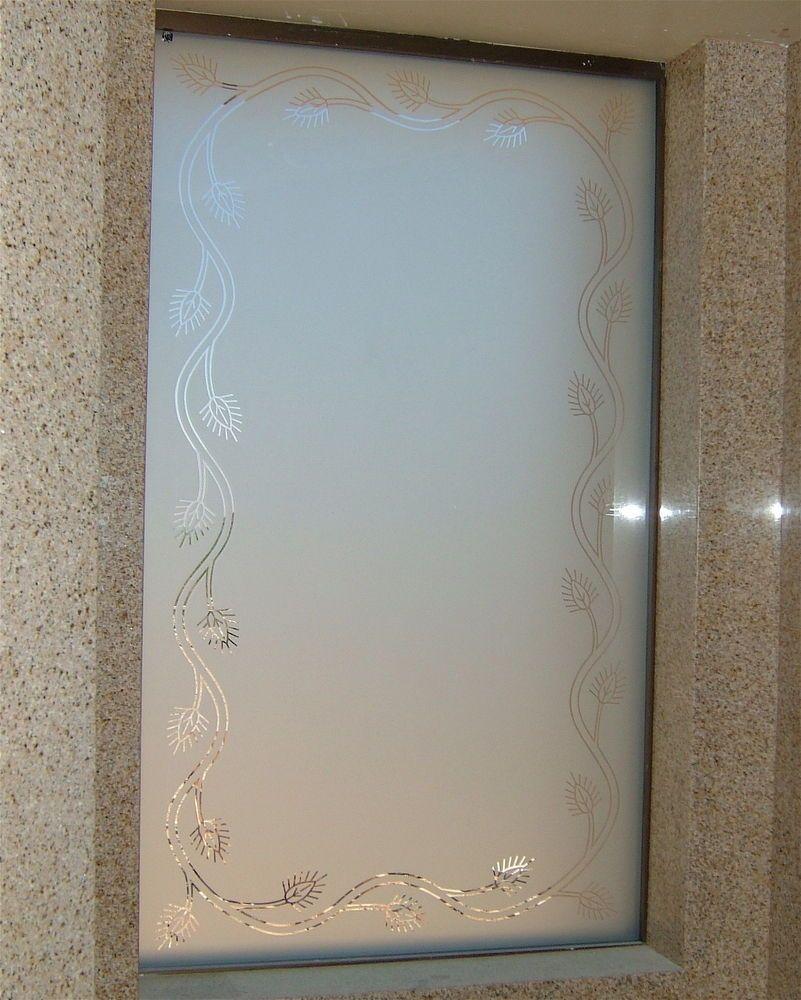 Glass window design - Acorn Border Glass Etchingetched Glassdecorative Glasswindow Designfrosted