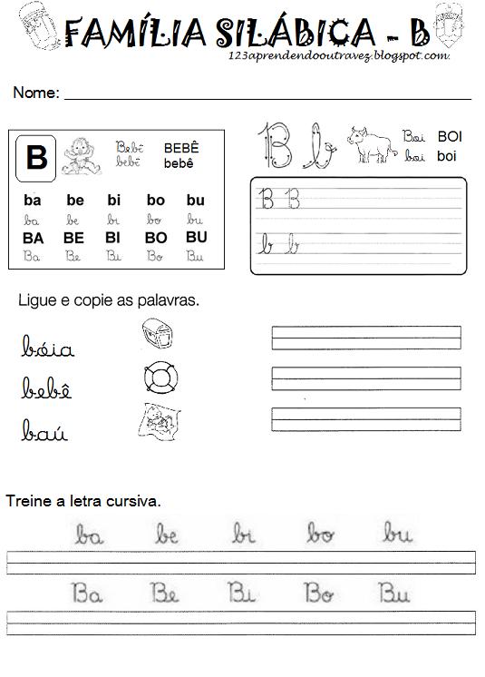 1 2 3 Aprendendo Outra Vez Atividades Letra E Atividades Atividades Letra B