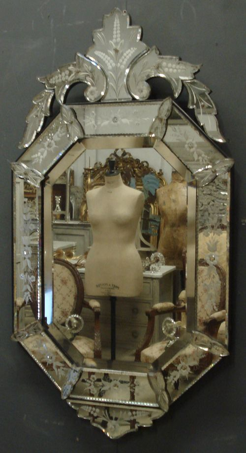 Crested Venetian Antique Mirror