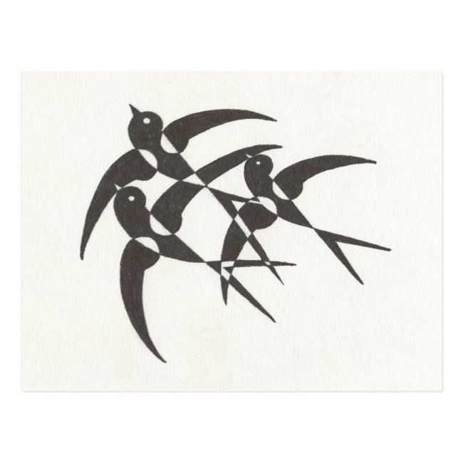 Art Deco Birds Postcard | Zazzle.com
