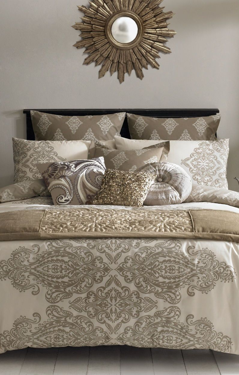 S  Taupe And Gold Bedding Set.  Http://www.beddingworld.co.uk/p/Elizabeth_Hurley_Tobago_Duvet_Cover.htm