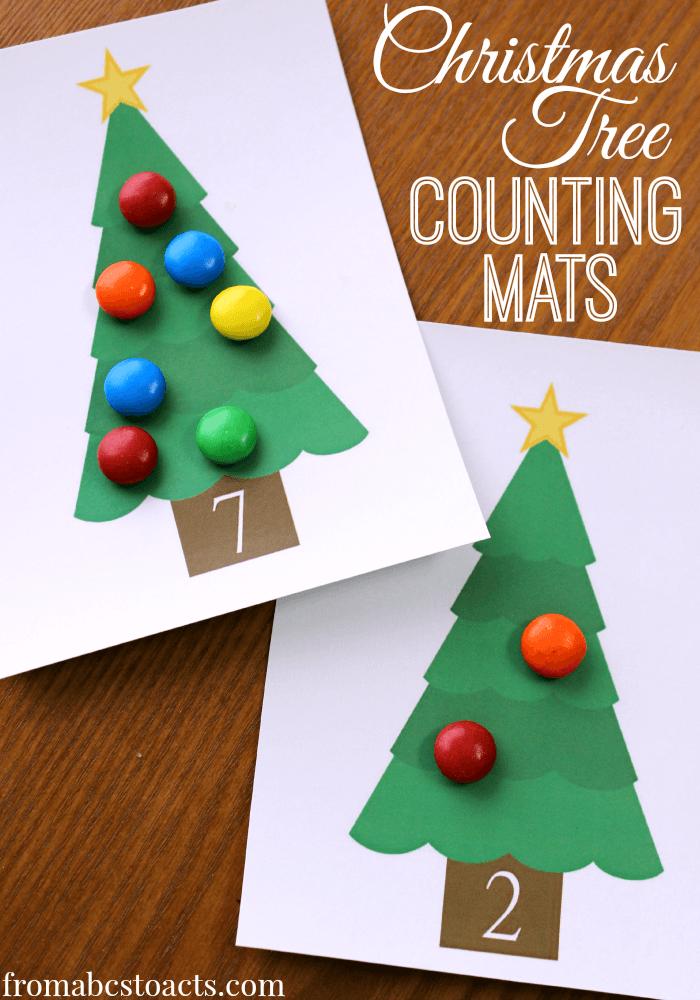 Printable Christmas Tree Counting Mats Christmas math