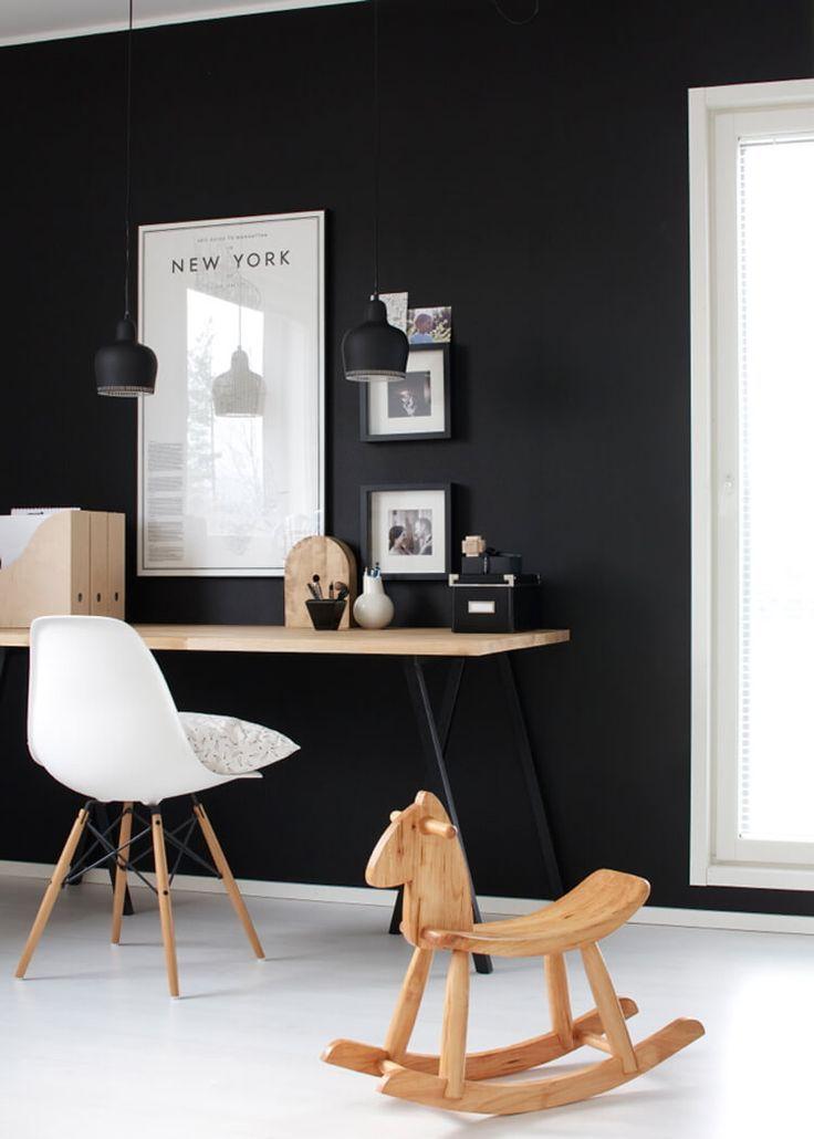 envie d 39 un mur noir dans ma d co id es deco noir gris blanc parquet blanc bureau et deco. Black Bedroom Furniture Sets. Home Design Ideas