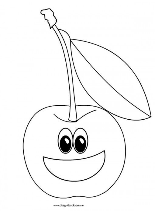 Ciliegia cartoon festa frutta fruit coloring pages for Disegni da colorare ciliegie