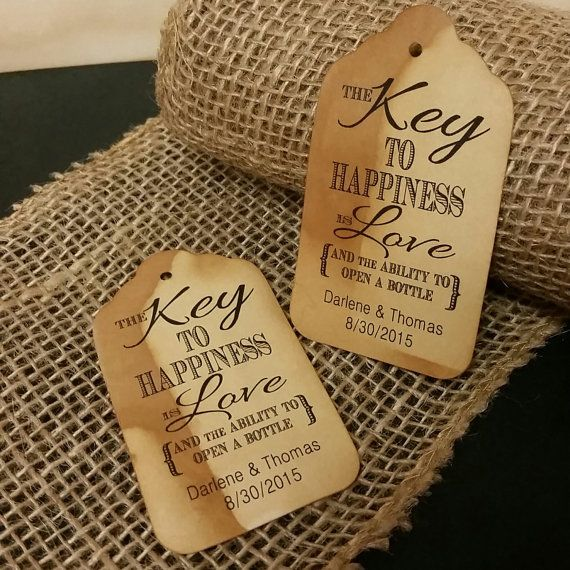 Key to happiness is love bottle opener favor tag medium for Bottle opener wedding favor