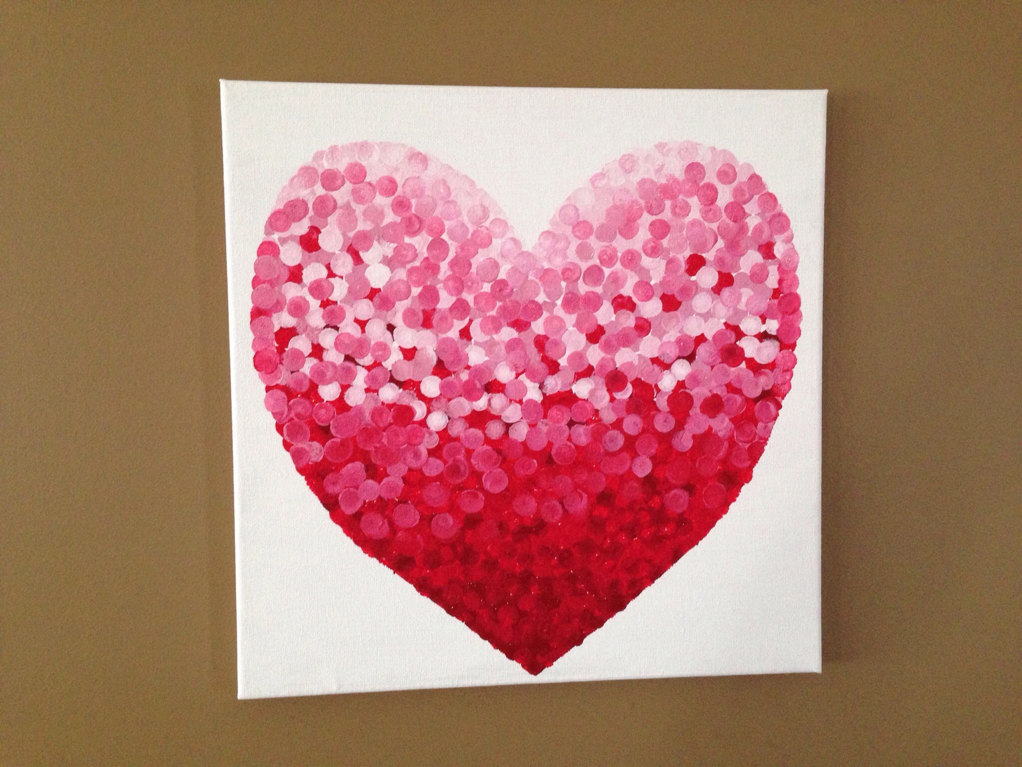 Valentine Diy Canvas Art Used Mini Sponge Brush And Various Shades Of Pink Red Paint Projects Valentines