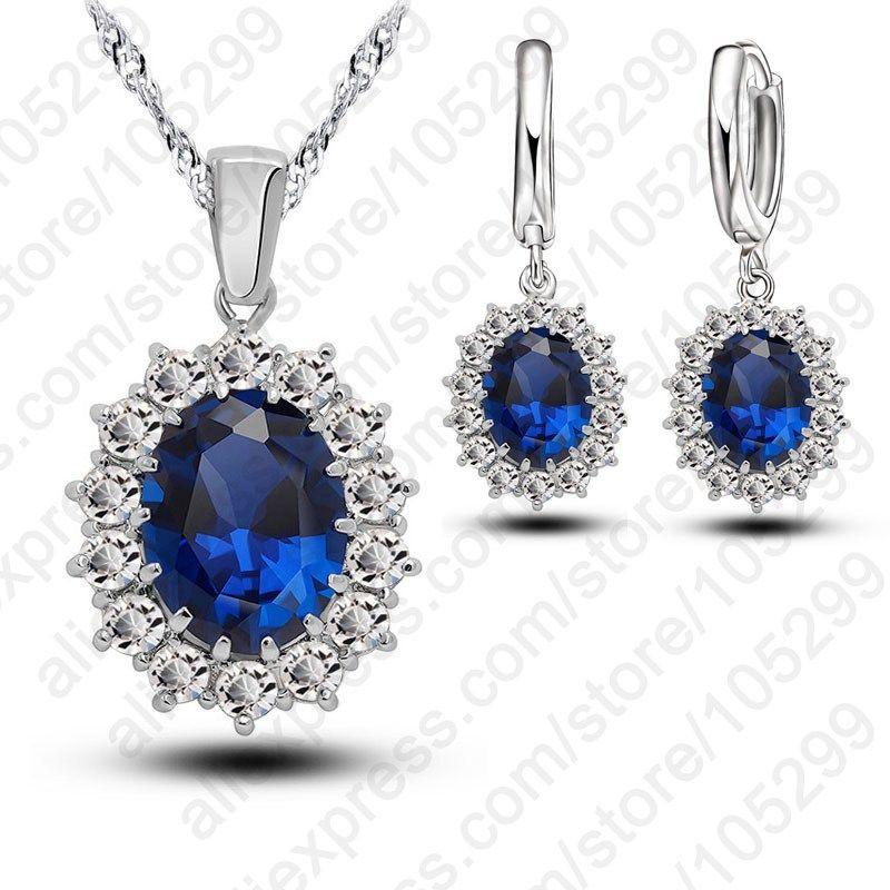 Women Jewellery The Parure Set in Sterling Silver 925 with Cubic Zirconia Teardrop Sapphire Woman