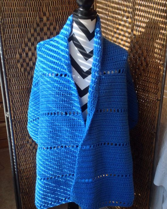 Snuggy New Shawl/Wrap Delft Blue Hand Crochet Great by YarnQueens